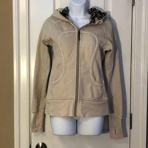 Lululemon scuba Hoodie jacket 6 full zip beige tan
